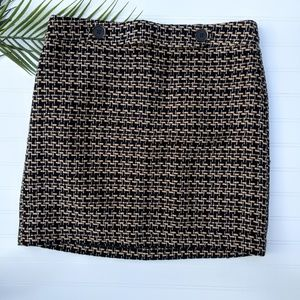 LOFT Black/Tan Boucle Skirt